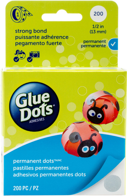 "Glue Dots Clear Dot Roll-Permanent .5"" 200/Pkg -11351 - 634524113511"