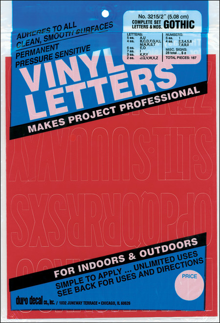 """Permanent Adhesive Vinyl Letters & Numbers 2"""" 167/Pkg-Red -D3215-RED - 029211321537"""