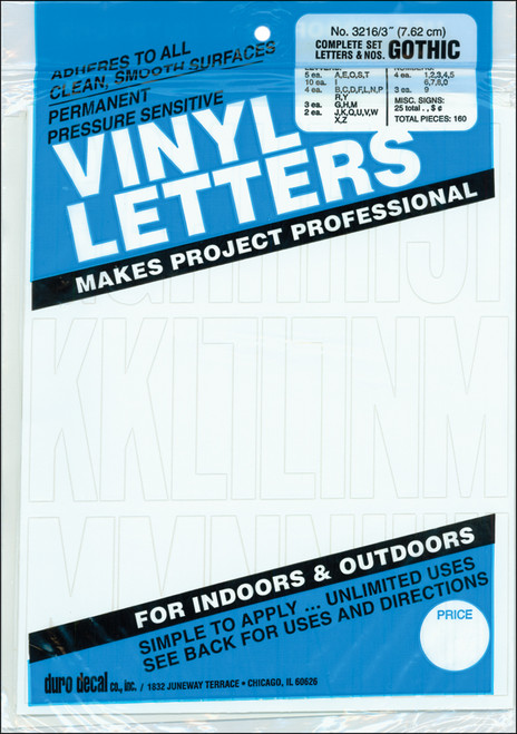 """Permanent Adhesive Vinyl Letters & Numbers 3"""" 160/Pkg-White -D3216-WHITE - 029211321629"""