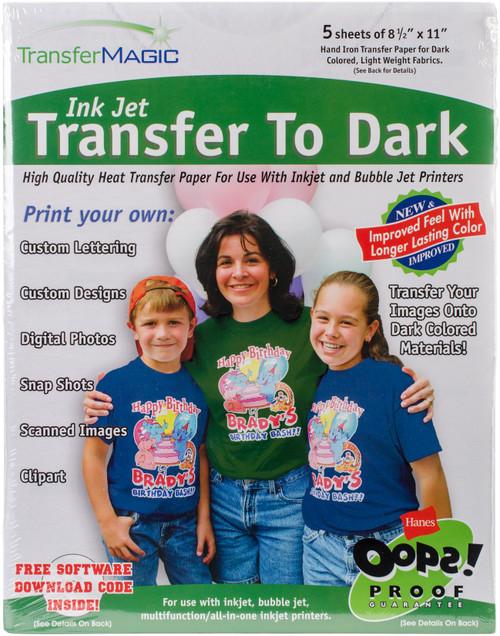 "Transfer Magic Ink Jet Transfer Paper 8.5""X11"" 5/Pkg-For Dark Fabrics -FXTD-5 - 707758005058"