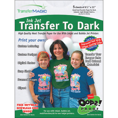 "Transfer Magic Ink Jet Transfer Paper 8.5""X11"" 5/Pkg-For Dark Fabrics -FXTD-5"