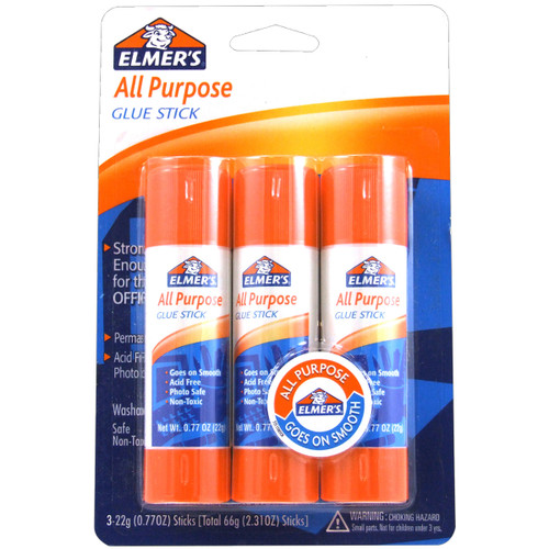 Elmer's All-Purpose Glue Sticks 3/Pkg-.77oz -E5022 - 026000050227