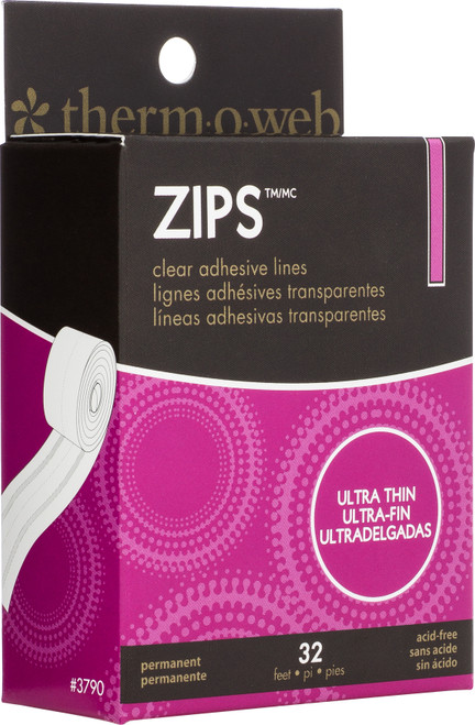 """Thermoweb Zips Clear Adhesive Lines-Ultra Thin 1/8""""X1/64"""" Thick 32'/Pkg -3790 - 000943037903"""