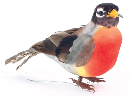"Mushroom Bird W/Wire 4.5""-Robin -MD20563 - 684653205632"