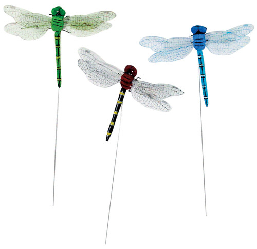 """Dragonflies W/Wire 3.5"""" 2/Pkg-Assorted Colors -MD23320"""