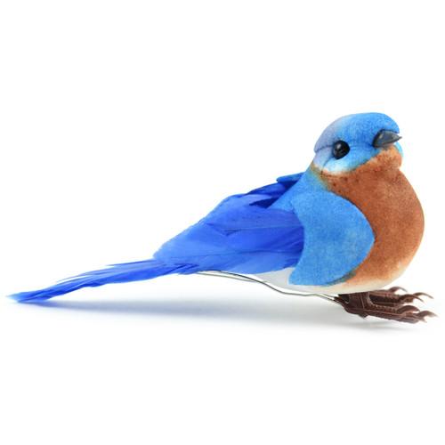 """Mushroom Bird W/Wire 3.5""""-Eastern Bluebird -MD20552"""