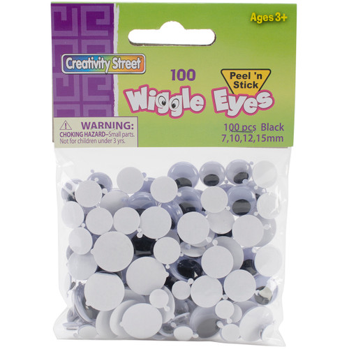 Peel & Stick Wiggle Eyes Assorted 7mm To 15mm 100/Pkg-Black -3446-05 - 021196344655