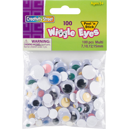 Peel & Stick Wiggle Eyes Assorted 7mm To 15mm 100/Pkg-Assorted -3446-06 - 021196344662