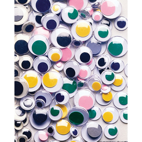 Peel & Stick Wiggle Eyes Assorted 7mm To 15mm 100/Pkg-Assorted -3446-06