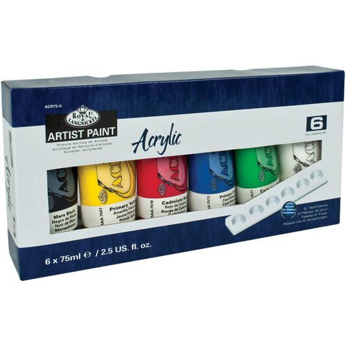 Acrylic Paints 75ml 6/Pkg-Assorted Colors -ACR75-6 - 090672071361