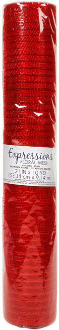 """Expressions Metallic Floral Mesh 21""""X10yds-Red -MESH21-101 - 082676115110"""