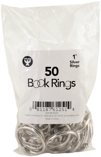 "Book Rings 50/Pkg-Silver 1"" -H61251 - 081187612514"