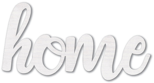 Mix The Media Wood Script Words-Home, White -MMWDS-1445