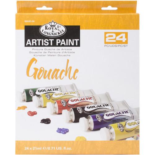 Gouache Acrylic Paints 21ml 24/Pkg-Assorted Colors -GOU21-24 - 090672065575