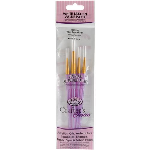Crafter's Choice White Taklon Brush Set-4/Pkg -RCC220 - 090672304148