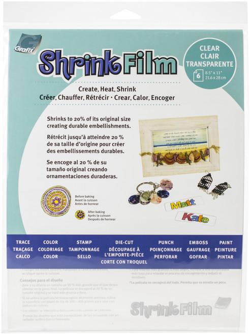 "Grafix Shrink Film 8.5""X11"" 6/Pkg-Clear -KSF6-C - 096701136827"