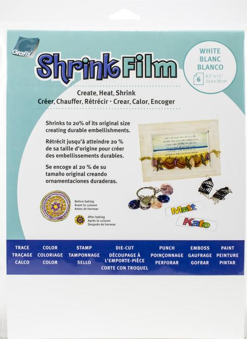 "Grafix Shrink Film 8.5""X11"" 6/Pkg-White -KSF6-W - 096701136841"