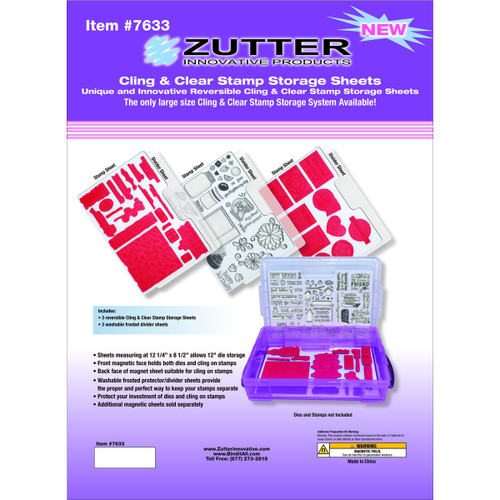 """Zutter Cling & Clear Stamp Storage System Refills-12.25""""X8.5"""" -7633"""