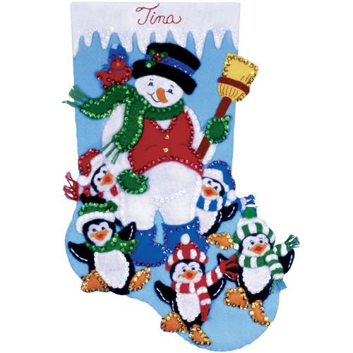 "Design Works Felt Stocking Applique Kit 16"" Long-Penguin Party -DW5095 - 021465050959"