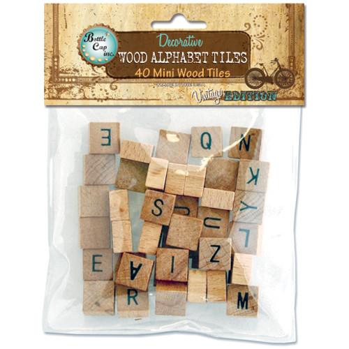 """Wood Alphabet Tiles .5"""" 40/Pkg-Uppercase -40MINIAL - 610708608554"""