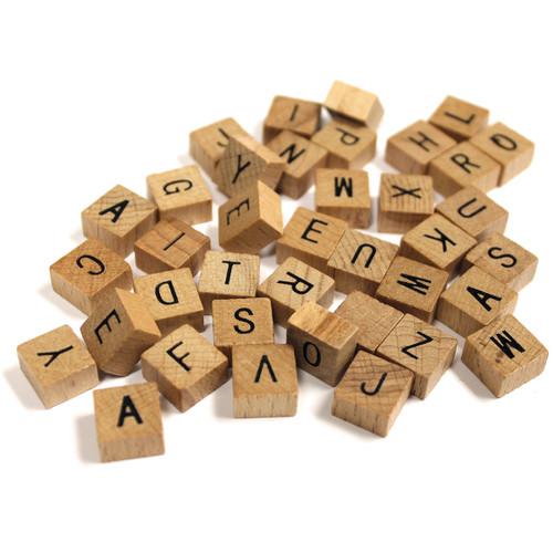 """Wood Alphabet Tiles .5"""" 40/Pkg-Uppercase -40MINIAL"""