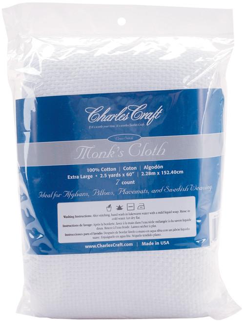 "Charles Craft Monk's Cloth Aida 7 Count 60""X2.5yd-White -HF4462-6750 - 078243015365"