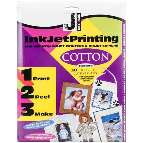 "Jacquard Inkjet Fabric Sheets 8.5""X11"" 30/Pkg-100% Cotton Percale -JAC9802 - 743772980209"