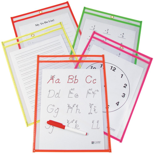 "Reusable Dry Erase Pockets 9""X12"" 10/Pkg-Assorted Neon Colors -40810 - 038944408101"