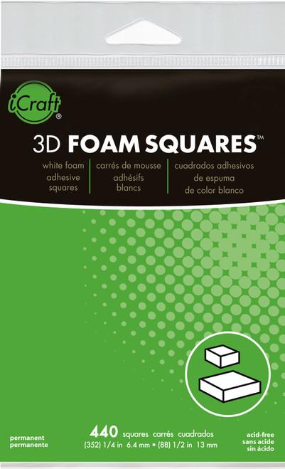 "Thermoweb 3D Foam Squares Combo Pack-White (352) .25"" & (88) .5"" 440/Pkg -3777 - 000943037774"