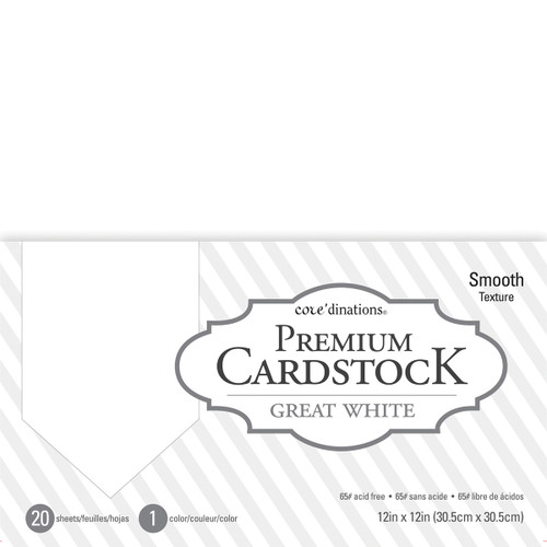 """Core'dinations Value Pack Smooth Cardstock 12""""X12"""" 20/Pkg-Great White -377691 - 718813776912"""
