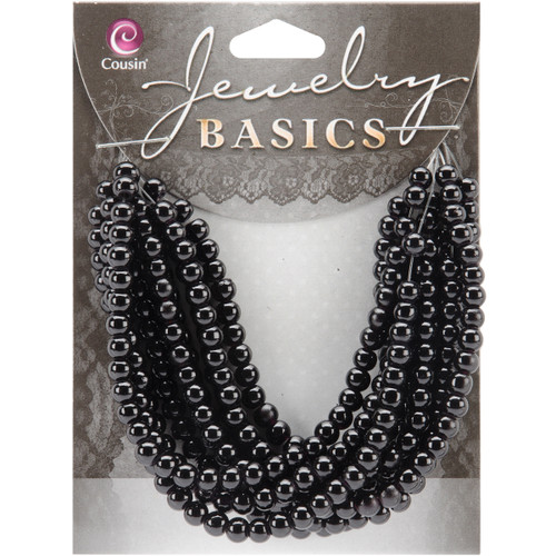 Jewelry Basics Glass Beads 4mm 300/Pkg-Black Opaque Round -34713002 - 016321050785