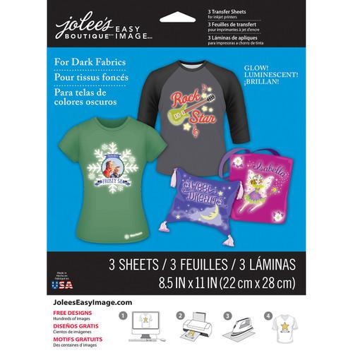 "Jolee's Easy Image Transfer Sheets 8.5""X11"" 3/Pkg-Glow-In-The-Dark For Dark Fabrics -56-47041"
