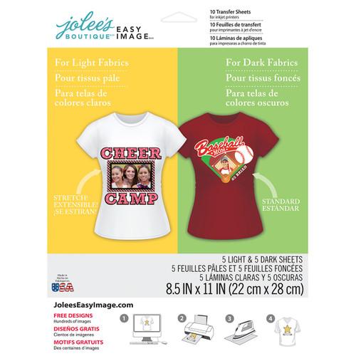"""Jolee's Easy Image Transfer Sheets 8.5""""X11"""" 10/Pkg-For Light & Dark Fabrics -56-47030"""