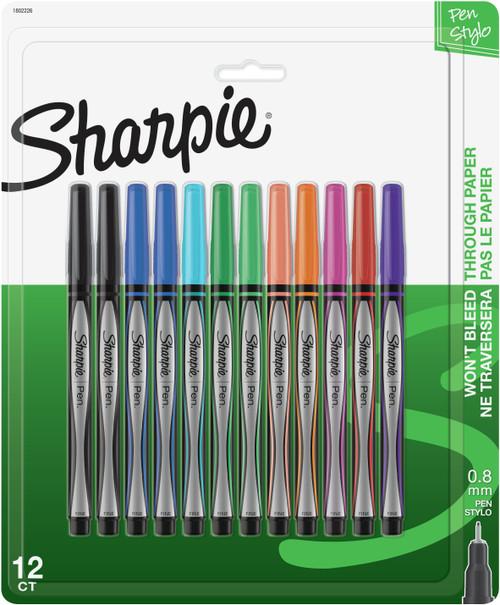 Sharpie Pens Stylo Fine 12/Pkg-Assorted Colors -1802226 - 071641041745