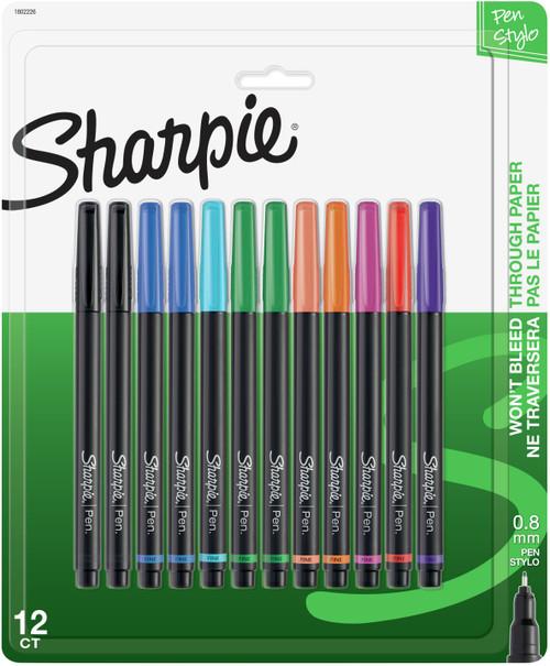 Sharpie Pens Stylo Fine 12/Pkg-Assorted Colors -1802226