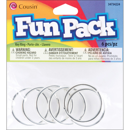 Fun Pack Key Rings 6/Pkg-Silver -34734224 - 016321083400