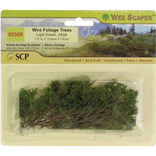 """Wire Foliage Trees 1.5"""" To 3"""" 24/Pkg-Light Green -00308 - 853412003080"""