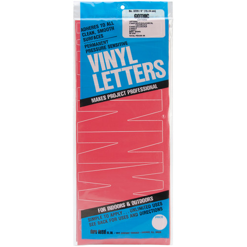 """Permanent Adhesive Vinyl Letters 6"""" 94/Pkg-Red -D3220-RED - 029211322039"""