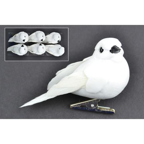 "Mushroom Birds W/Clip 3"" 6/Pkg-White Doves -MD21237"