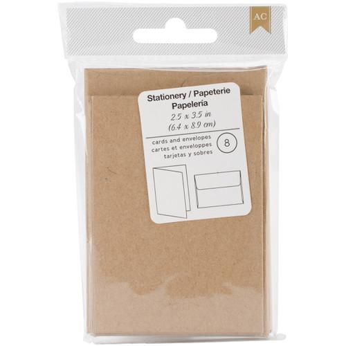 "American Crafts Gift Cards W/Envelopes 2.5""X3.5"" 8/Pkg-Kraft -368582 - 718813685825"