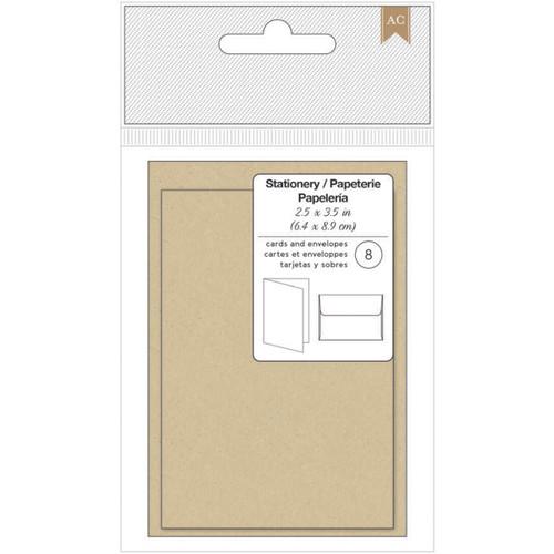 "American Crafts Gift Cards W/Envelopes 2.5""X3.5"" 8/Pkg-Kraft -368582"