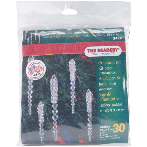 """Holiday Beaded Ornament Kit-Sparkling Icicles 3.75"""" Makes 30 -BOK-5489 - 045155887403"""