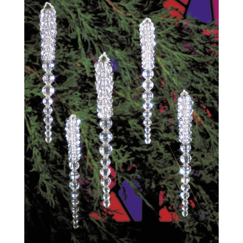 """Holiday Beaded Ornament Kit-Sparkling Icicles 3.75"""" Makes 30 -BOK-5489"""