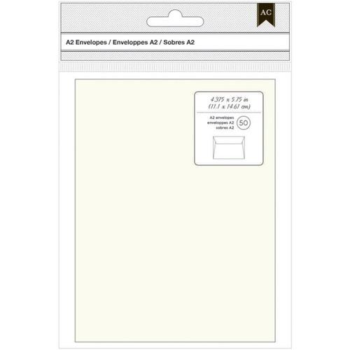 "American Crafts A2 Envelopes (4.375""X5.75"") 50/Pkg-Ivory -368578"