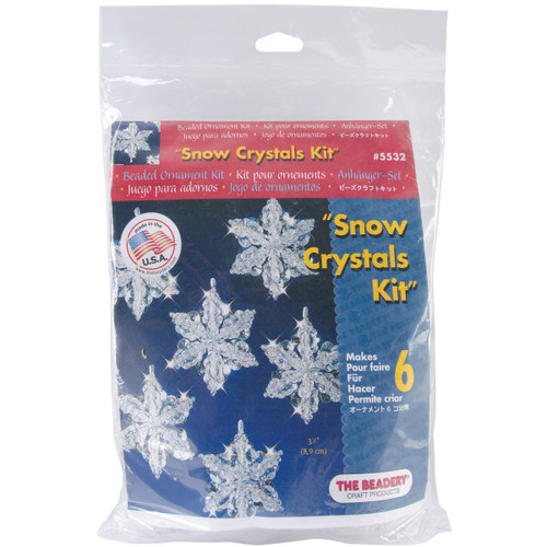 "Holiday Beaded Ornament Kit-Snow Crystals 3.5"" Makes 6 -BOK-5532 - 045155888950"