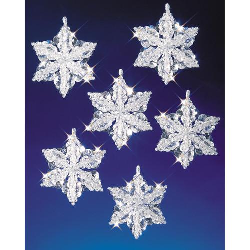 "Holiday Beaded Ornament Kit-Snow Crystals 3.5"" Makes 6 -BOK-5532"