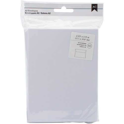 "American Crafts A2 Envelopes (4.375""X5.75"") 50/Pkg-White -368577 - 718813685771"