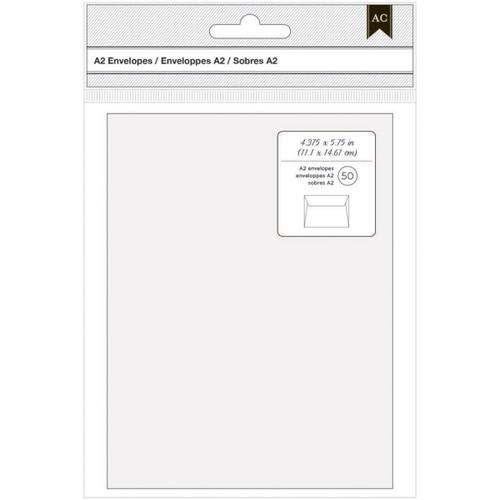"American Crafts A2 Envelopes (4.375""X5.75"") 50/Pkg-White -368577"