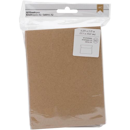 "American Crafts A2 Envelopes (4.375""X5.75"") 50/Pkg-Kraft -368579 - 718813685795"