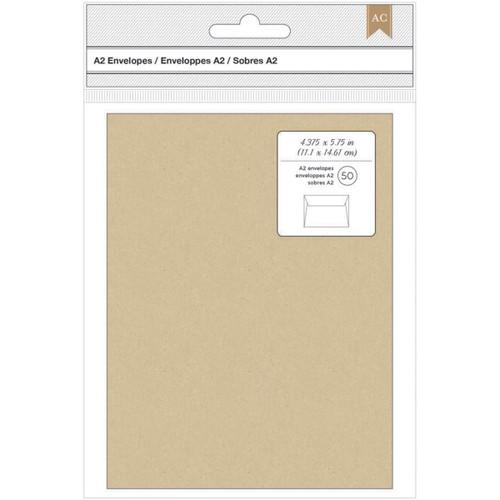 "American Crafts A2 Envelopes (4.375""X5.75"") 50/Pkg-Kraft -368579"